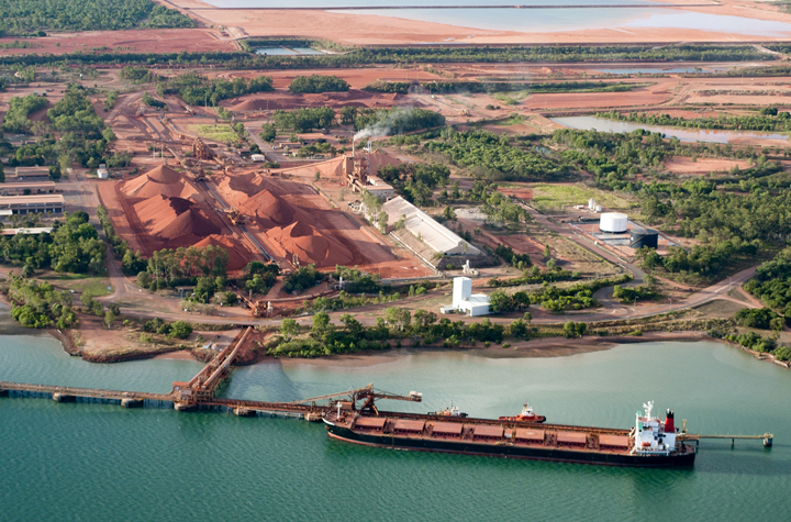 Image of ore ship loading bauxite at Weipa, Queensland, Australia