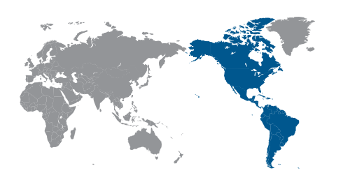 World map highlighting the Americas