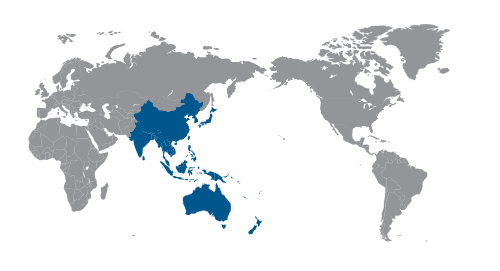 World map highlighting Asia Pacific