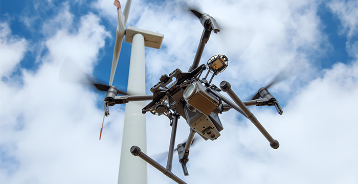 Industrial drone for inspector of rotor blades on wind turbines