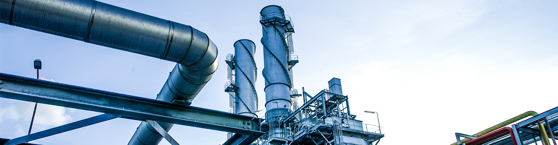 Industrial view at oil refinery plant with sky