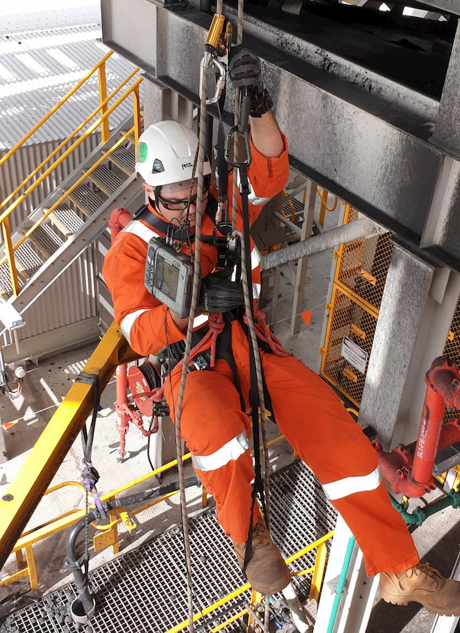 ALS technician performing a Rope Access Inspection